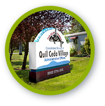 Quil Ceda Village employment opportunities selection with photo of QCV signage